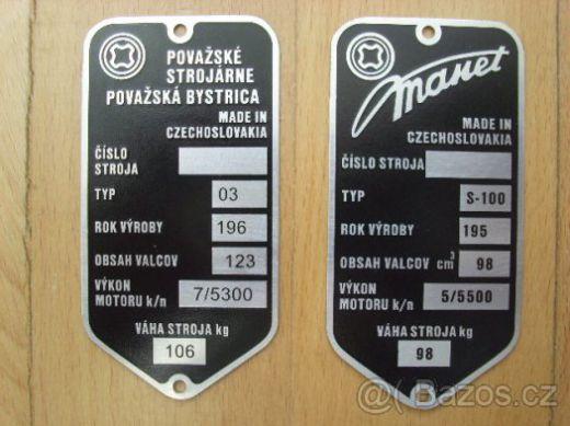 dbcafb99f Výrobné štítky na skútre Manet a Tatran.
