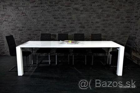 Dizajnový biely jedálenský/kancelársky stôl