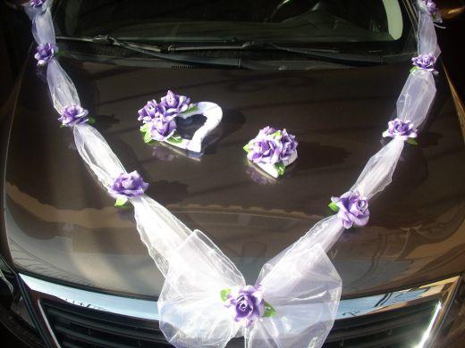 výzdoba na svadobné auto - fialková 2c3707921c9
